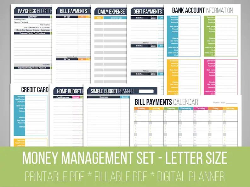 Money Management Set Fillable Financial Printables Bill Etsy