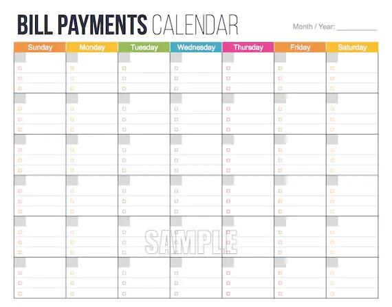 Bill Payments Calendar EDITABLE Personal Finance - bill calendar