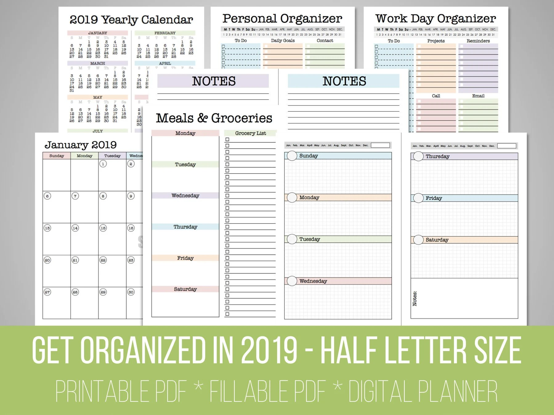 Get Organized in 2019 Set Mini Planner 2019 Calendar Etsy