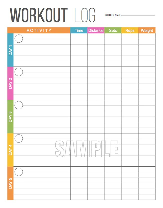 Workout Log - Exercise Log - Printable for Health and Fitness - INSTANT  DOWNLOAD