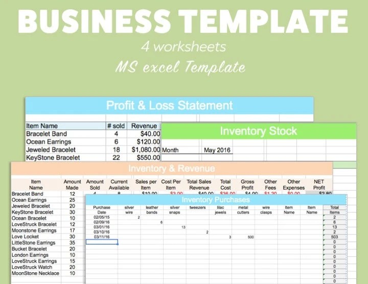 BUSINESS EXCEL Template Profit Loss Inventory Expense Revenue Etsy