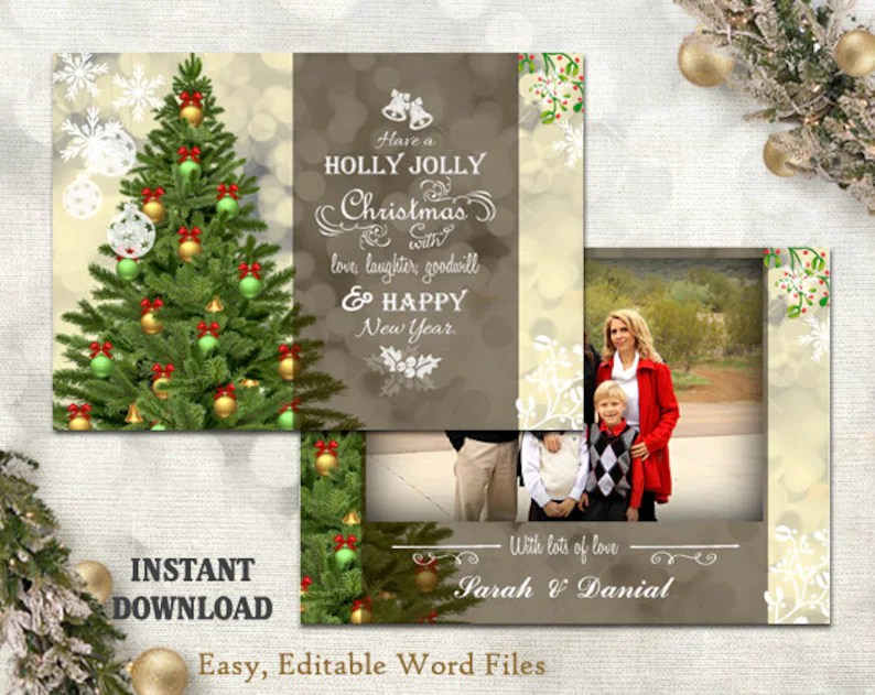 Christmas Card Template Holiday Greeting Card Christmas Etsy