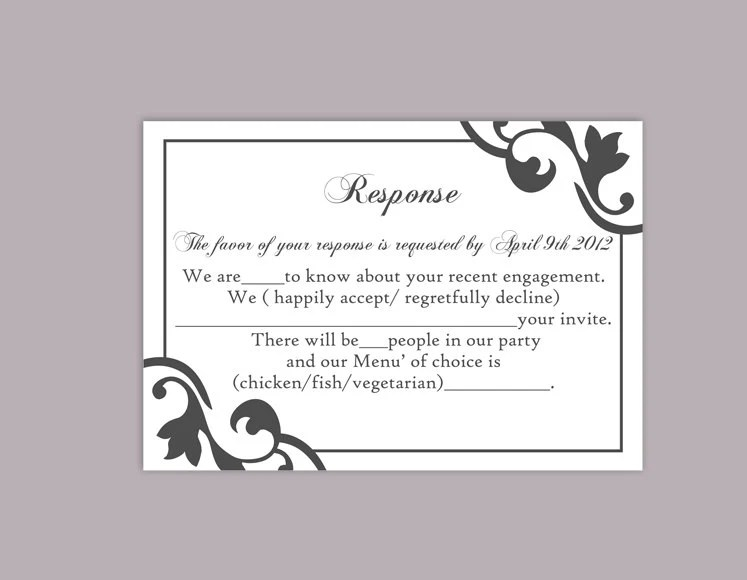 DIY Wedding RSVP Template Editable Text Word File Instant Etsy