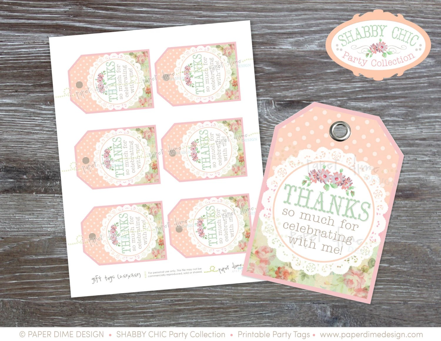 INSTANT DOWNLOAD Shabby Chic Gift Tags vintage label birthday