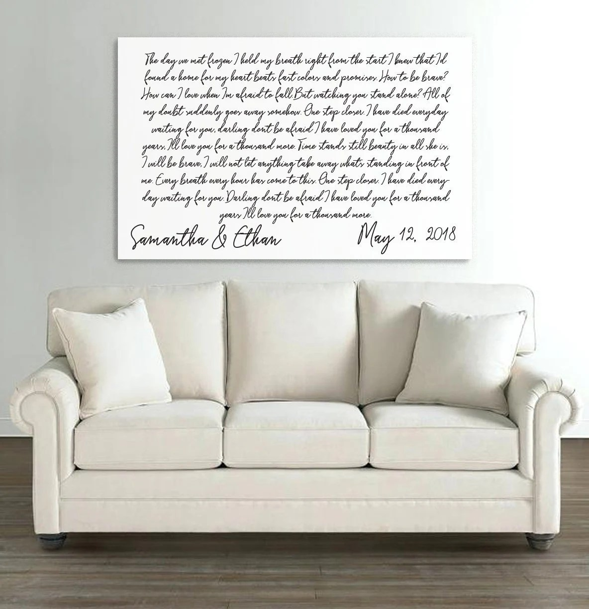 Sofa Easy Lyrics First Dance Lyrics On Canvas Your Wedding Song On Canvas 1st Year Anniversary Gift Couples Gift