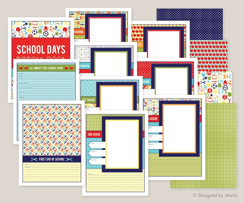 School Memory Book Printables Preschool 5th Grade School Etsy