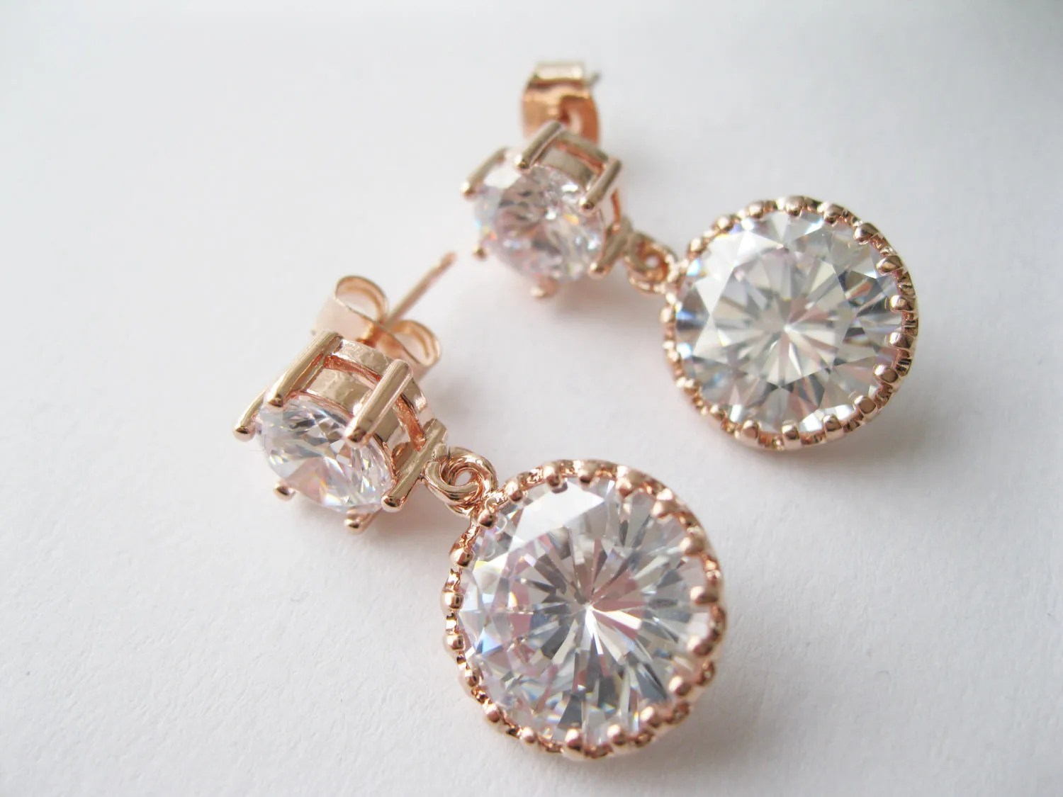 Where To Get Bridal Jewelry Rose Gold And Cubic Zirconia Drop Earrings Bridal Jewelry Modern