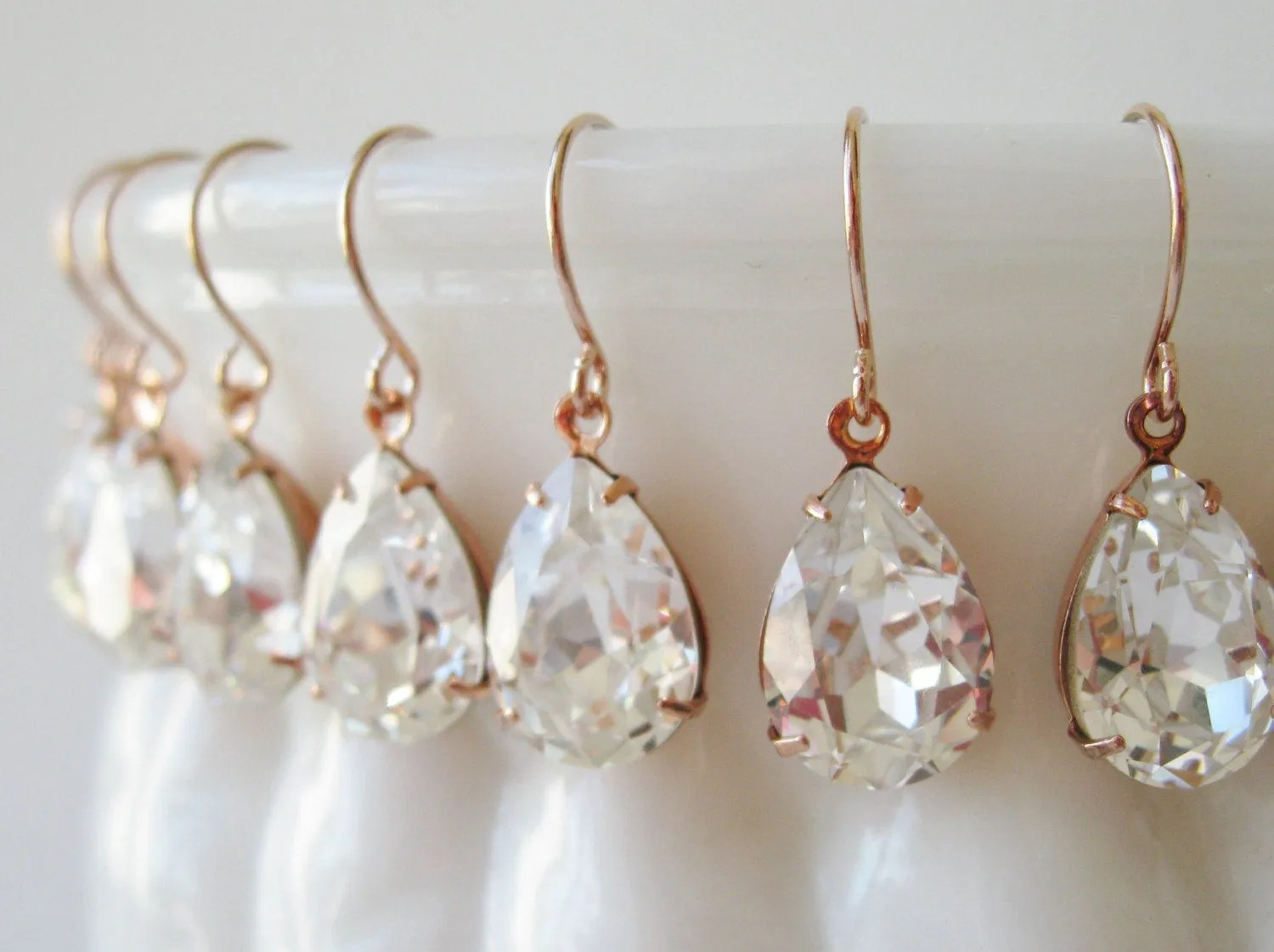 Where To Get Bridal Jewelry Bridesmaid Earrings Set Of 7 Crystal Rose Gold Plated Teardrop