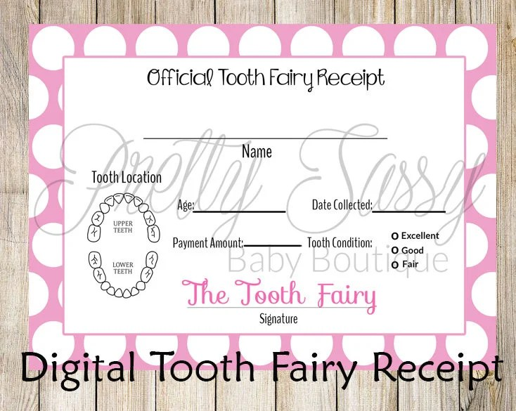 Tooth Fairy Receipt Printable tooth chart Instant Download Etsy