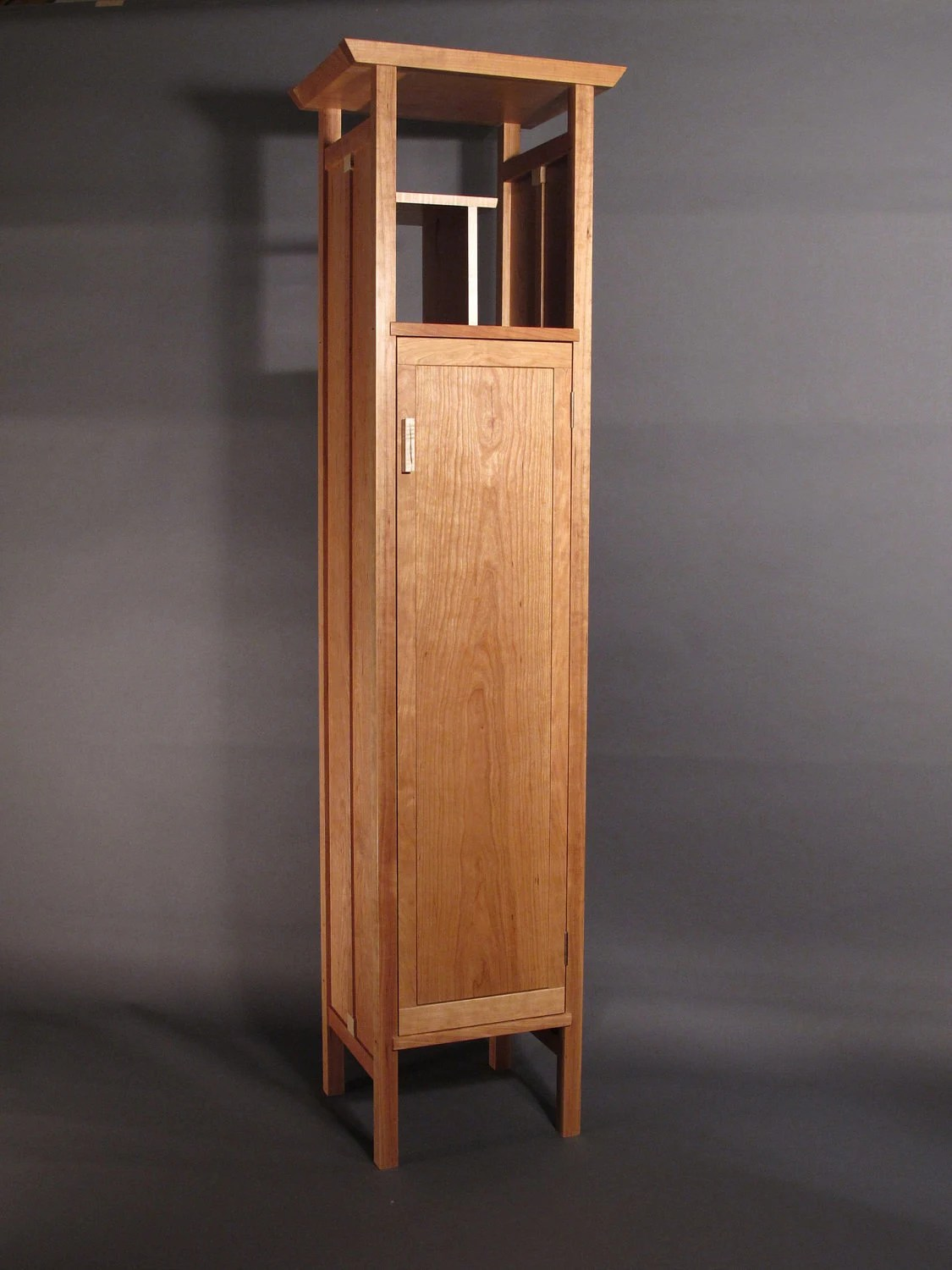 Cabinet Oak Furniture Tall Narrow Armoire Cabinet In Cherry Handmade Custom Wood Furniture Entry Cabinet Linen Cabinet Bedroom Armoire Mid Century Modern