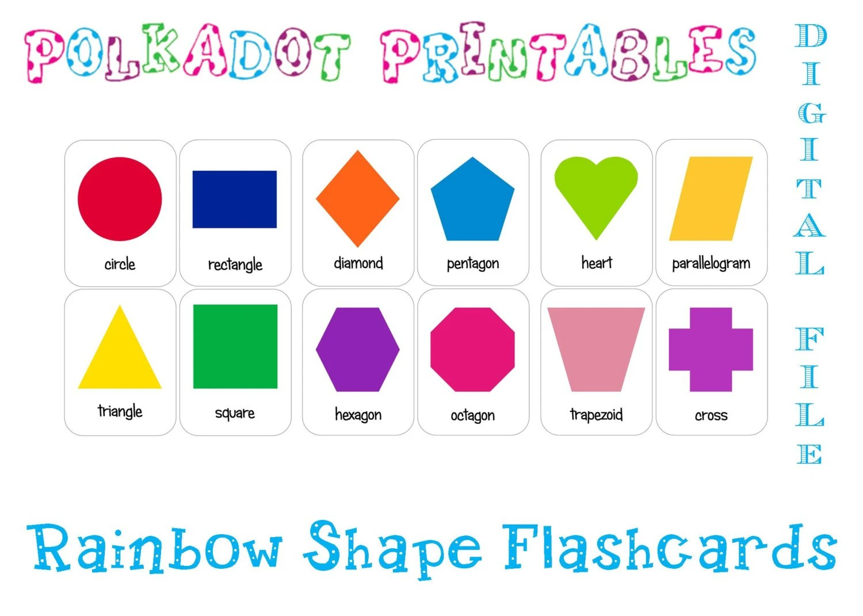 Printable Shape Flashcards Set of 12 Instant Download Etsy