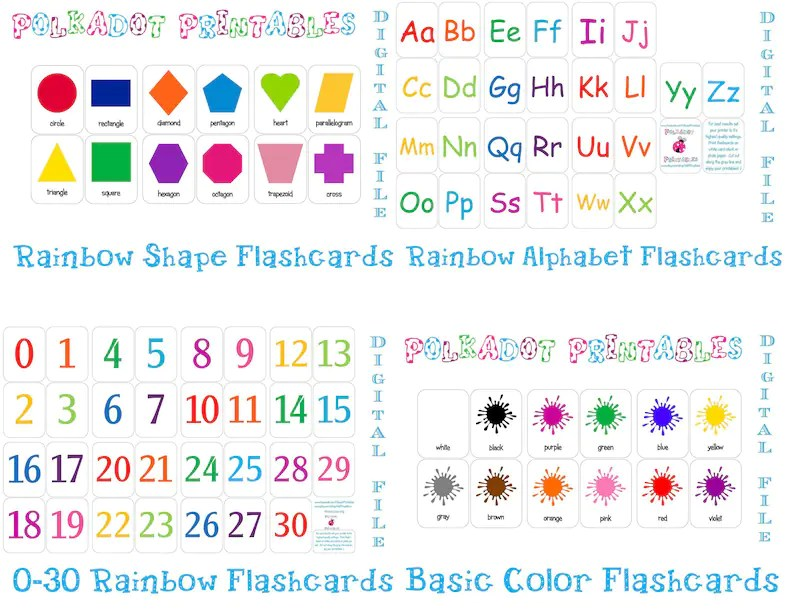 Printable Flashcards Combo Pack Instant Download Etsy