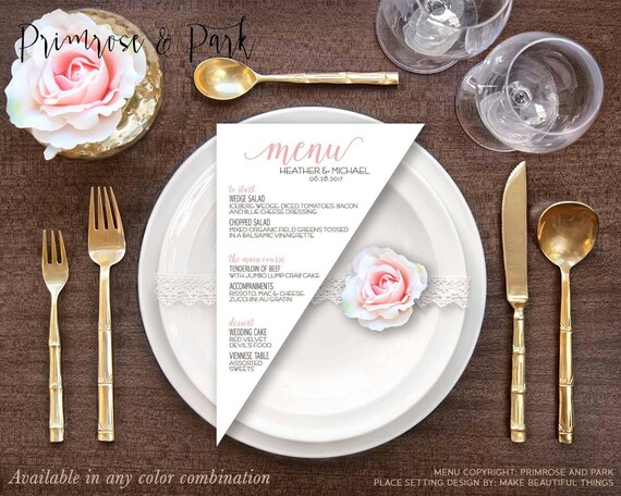 Triangle Menu Cards Printed Modern Menu Cards Wedding Menu Etsy