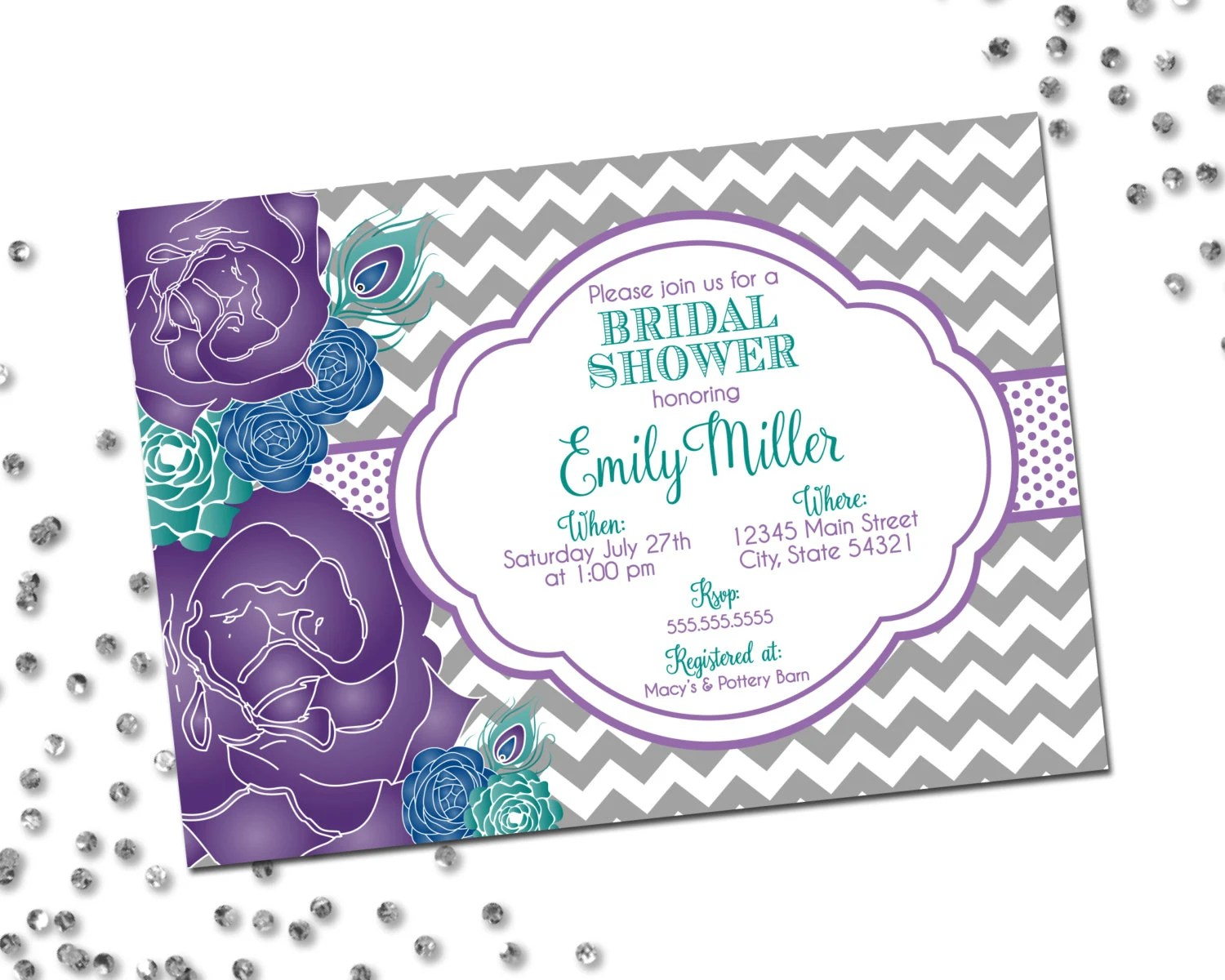 Peacock Bridal Shower Invitation Flower Bridal Shower Etsy