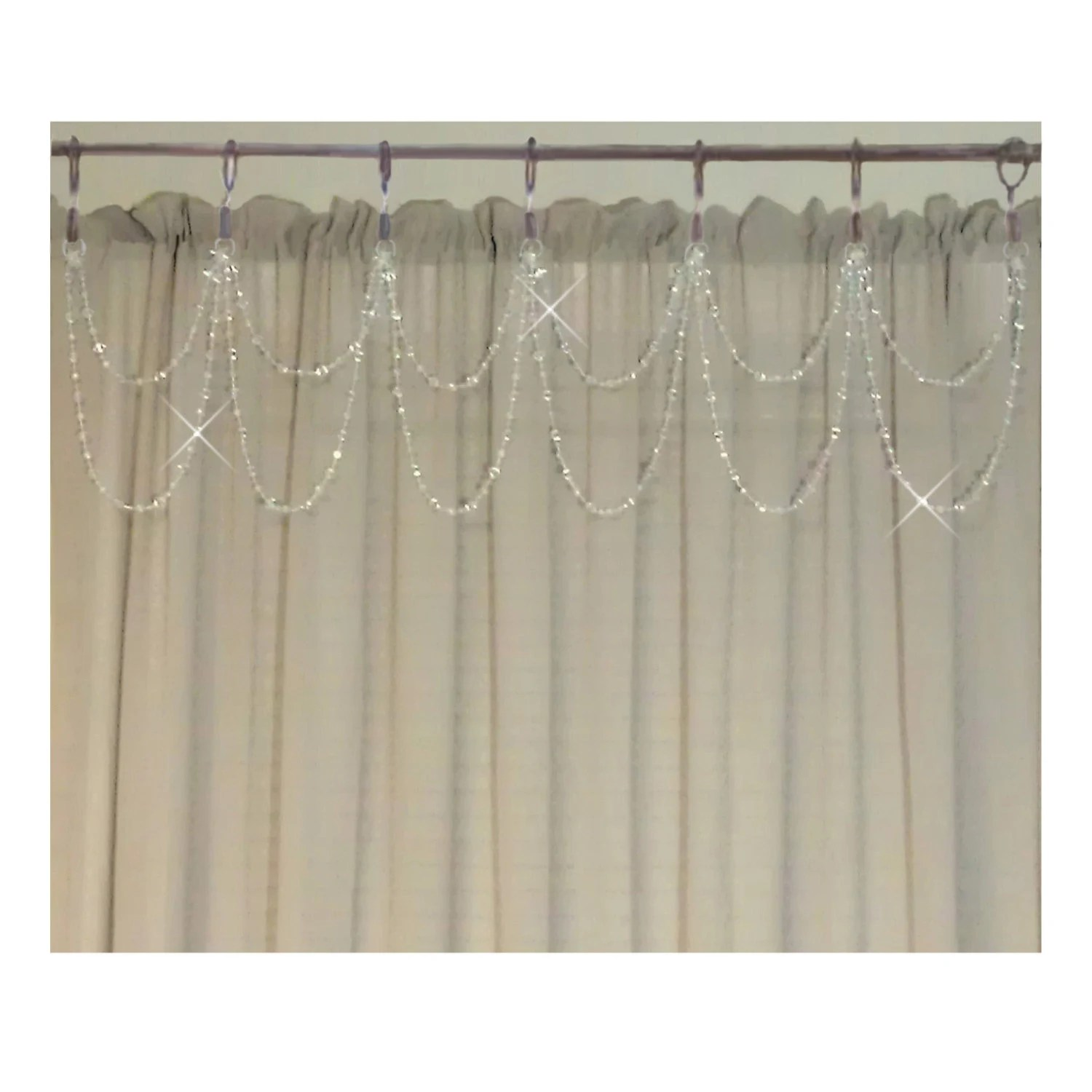 Cafe Curtain Clips Cafe Curtain Drapery Bling Double Swag 7 Star