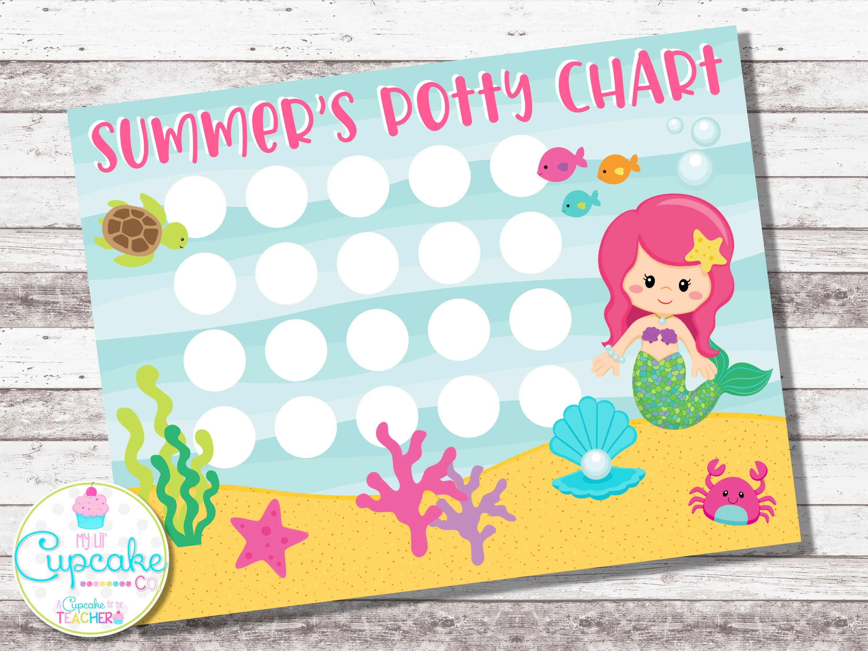 Potty Training Chart Mermaid Potty Chart Sticker Chart Etsy