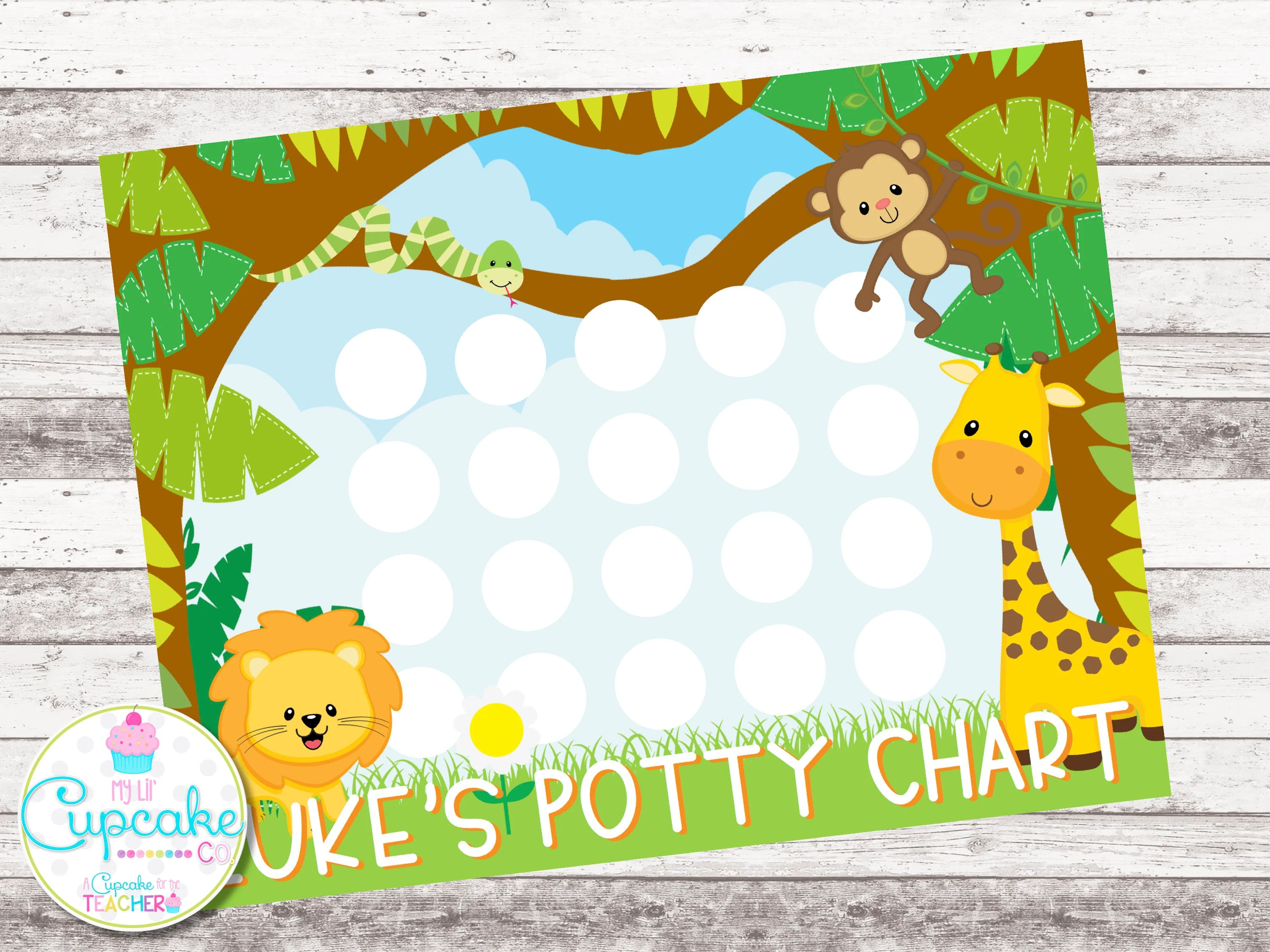 Potty Training Chart Jungle Potty Chart Sticker Chart Etsy