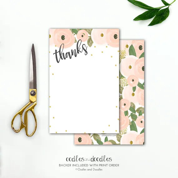 Pink and Gold Floral Stationery Personalized Stationery Watercolor