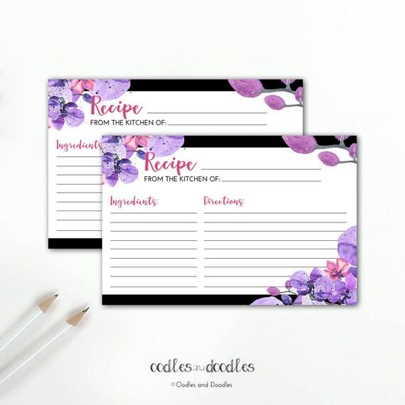 Recipe Cards, Recipe Card Template, Printable Floral Recipe Card
