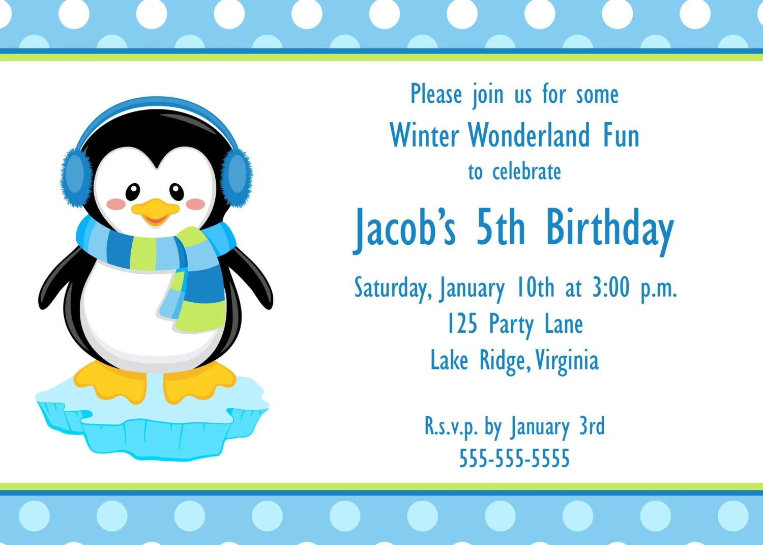 Items Similar To Printable Penguin Boy Birthday Invitation