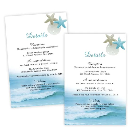Wedding Details Card Template Ocean Waves Enclosure Card Etsy