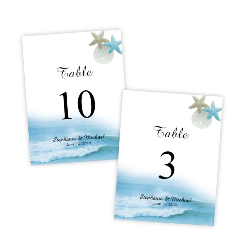 Table Number Template Ocean Waves DIY Printable Template Etsy
