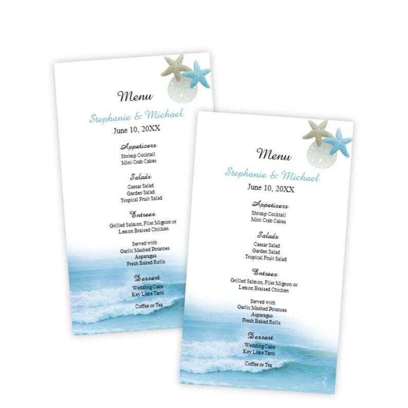 Wedding Menu Card Template Ocean Waves Menu Card Etsy