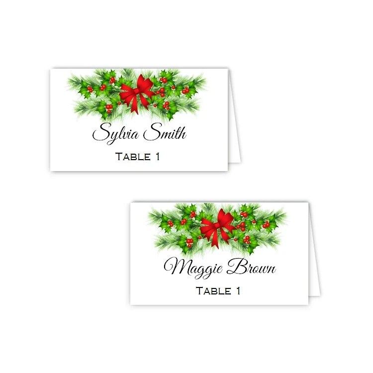 Holiday Holly and Pine Tent Place Cards Escort Cards DIY Etsy