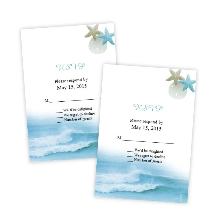 RSVP Card Template Ocean Waves DIY Printable Instant Etsy