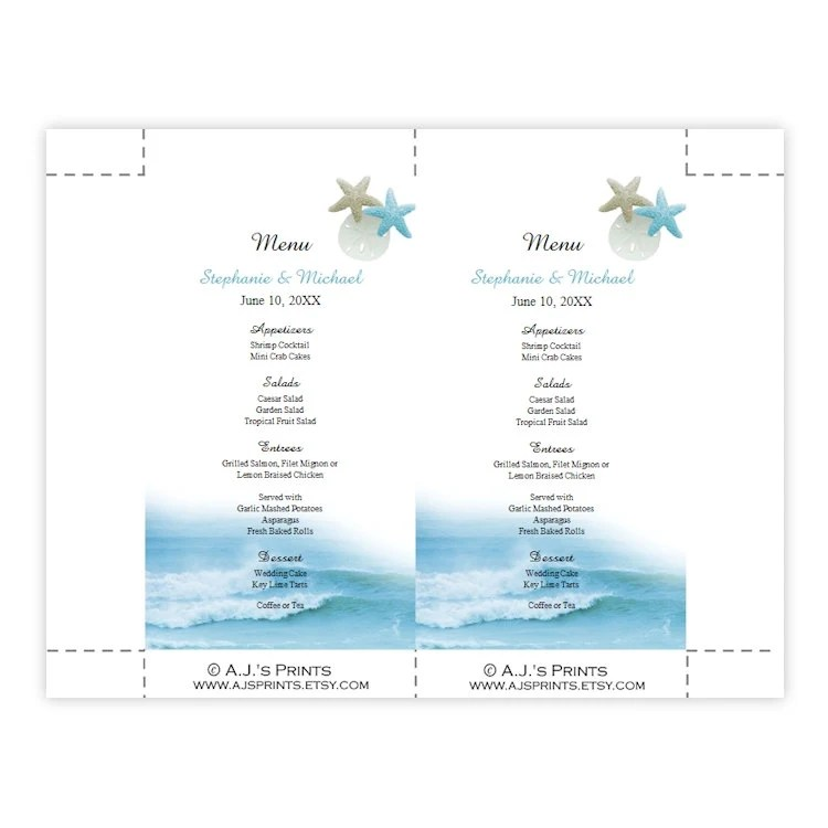 Wedding Menu Card Template Ocean Waves Menu Card Etsy
