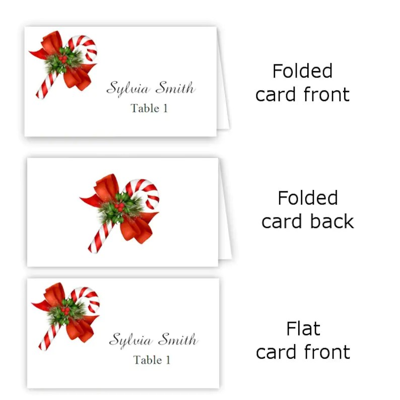 Candy Cane Folded Table Tent  Flat Place Card Templates Etsy