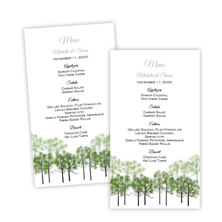 Wedding Menu Card Template Summer Forest Menu Card Etsy