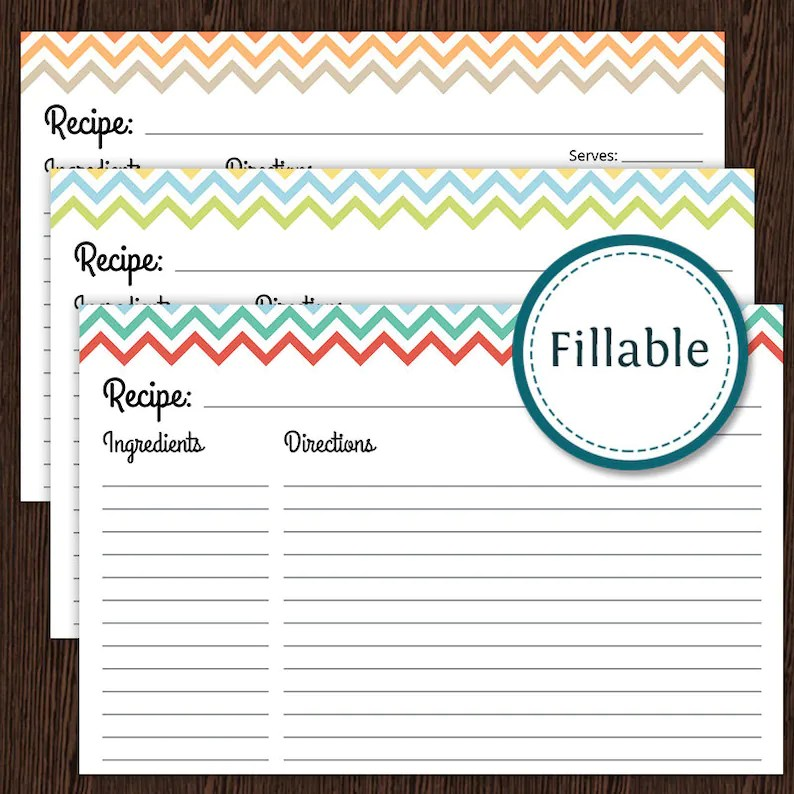 Recipe Card Colourful Chevron Fillable 4x6 recipe card Etsy