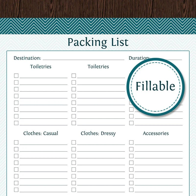 Travel Planner Packing Lists Fillable Instant Download Etsy