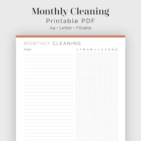 Monthly Cleaning Checklist Fillable Printable PDF Etsy