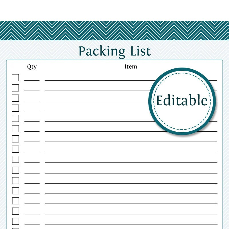 Packing List Fillable Printable PDF Instant Download Etsy