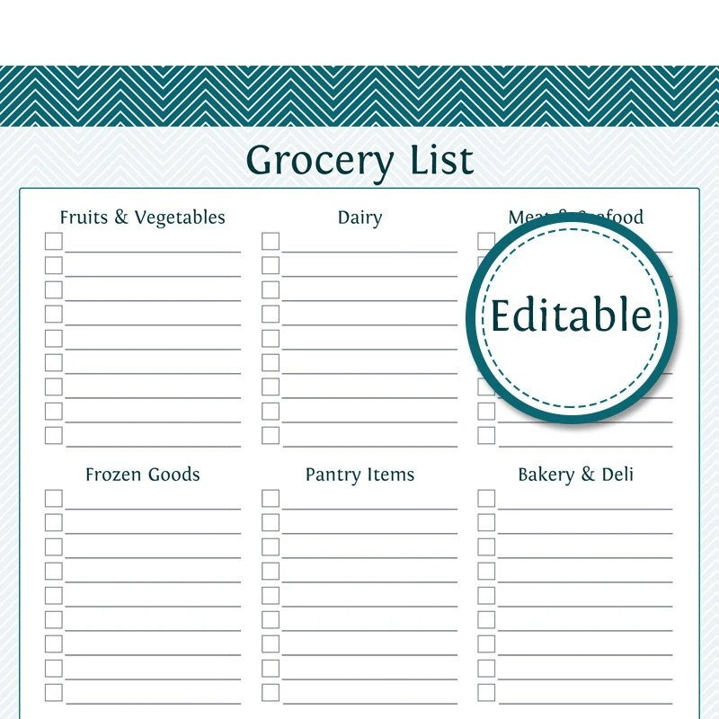 Grocery Shopping List with Categories- Fillable - Printable PDF - Instant  Download