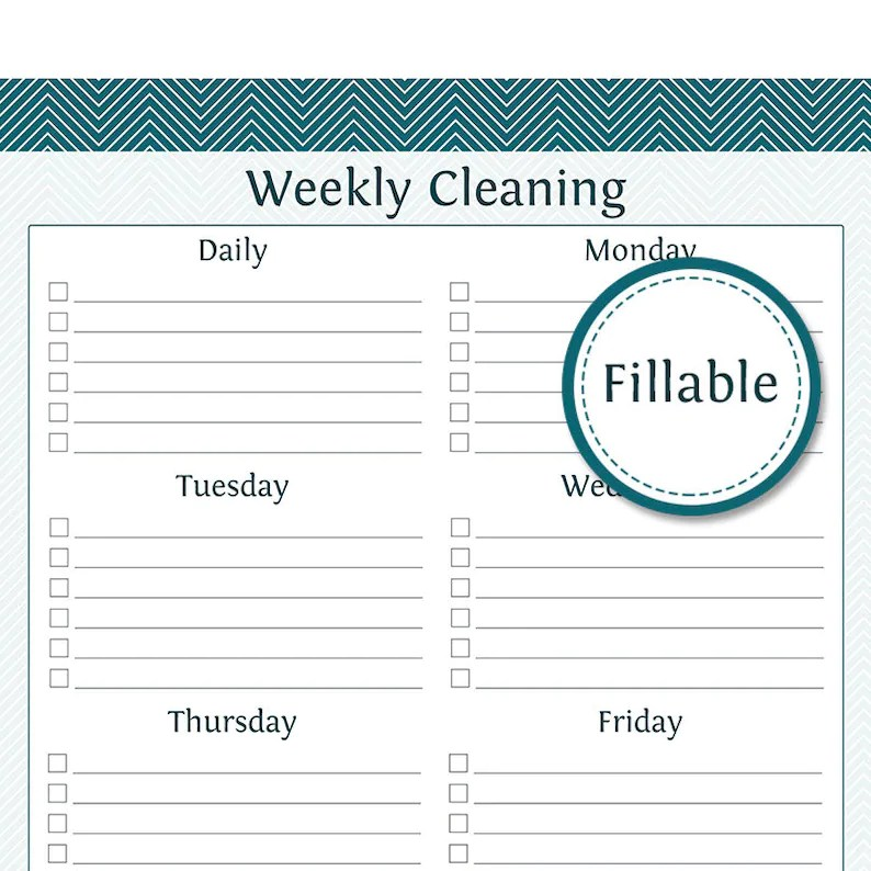Weekly Cleaning Checklist Fillable Prefilled and empty Etsy