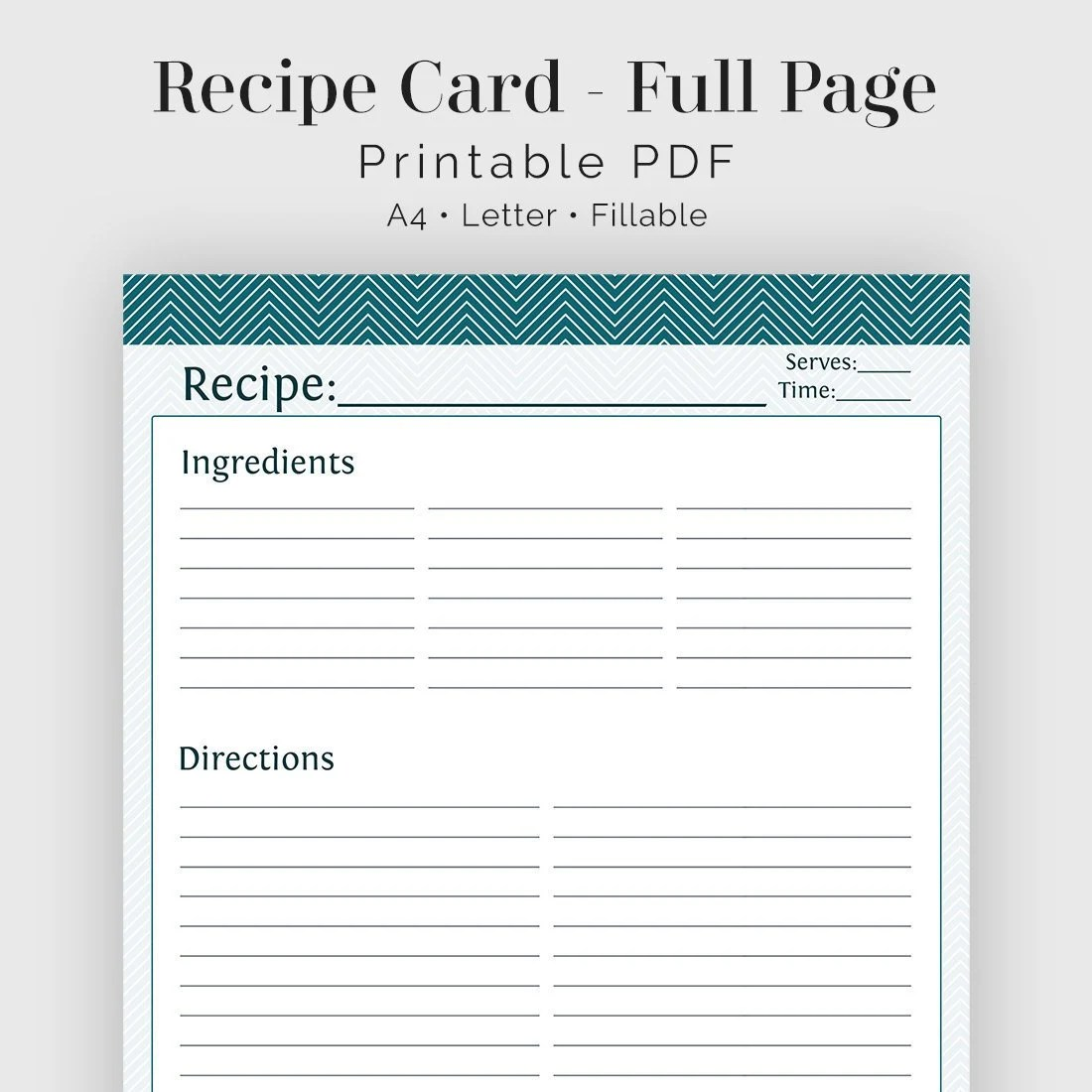 Recipe Card Full Page Fillable Printable PDF Teal Etsy