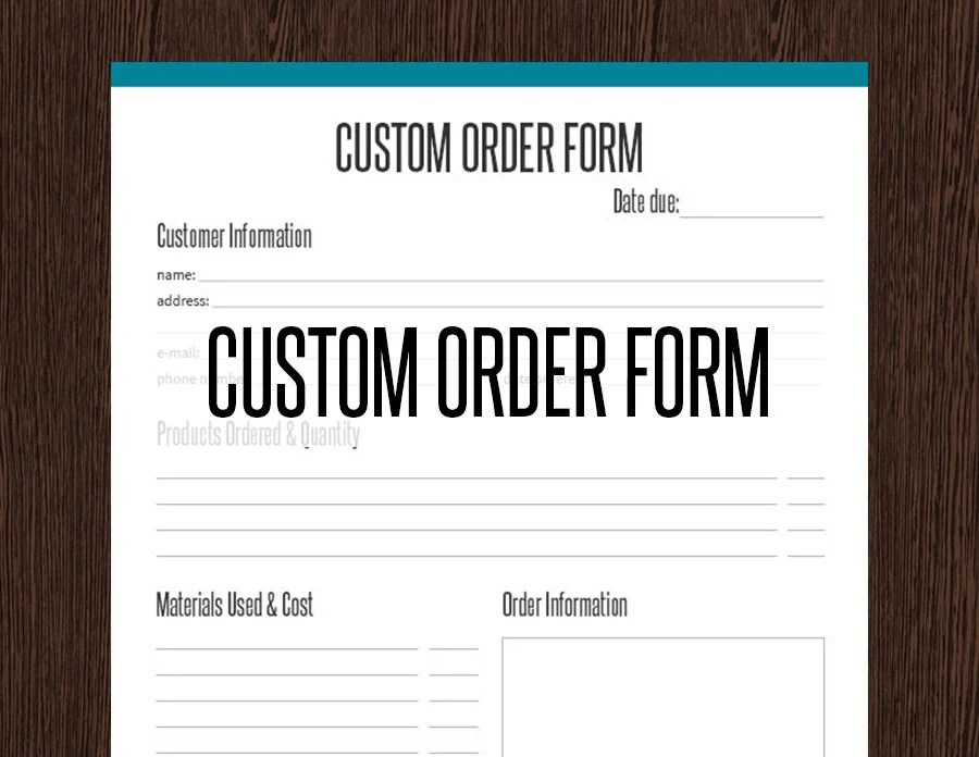 Custom Order Form Fillable Business Planner Printable Etsy