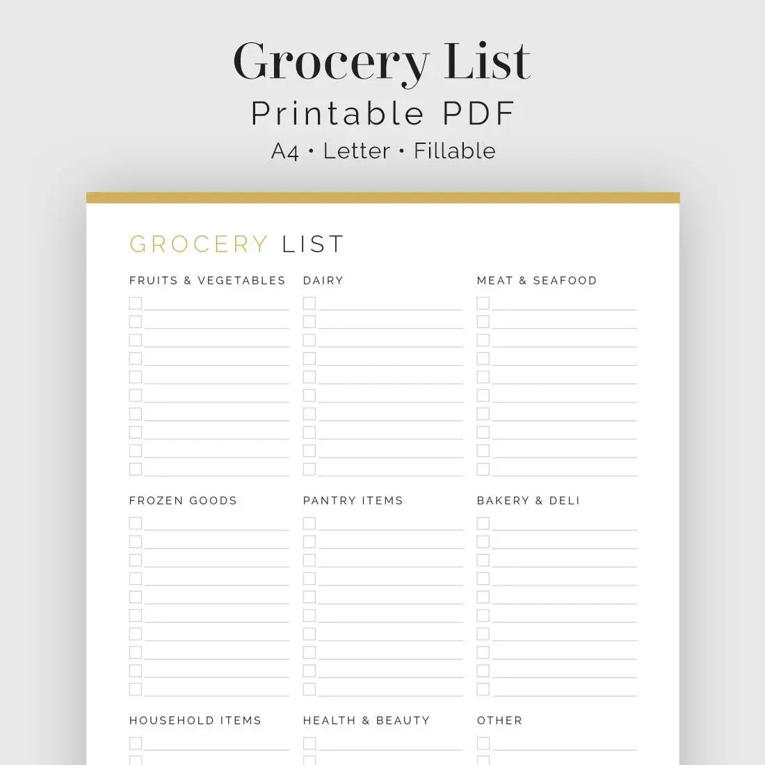 Grocery List with Categories Printable PDF Meal Planner Etsy