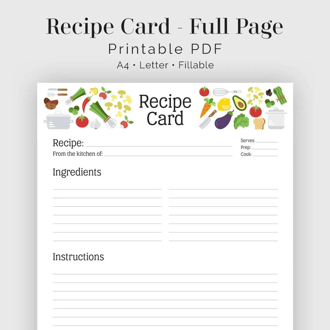 Recipe Card Full Page Illustrated Header Fillable Etsy