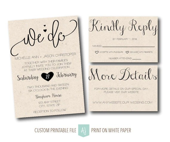 Wedding Invite with RSVP Card Details Card Printable Etsy
