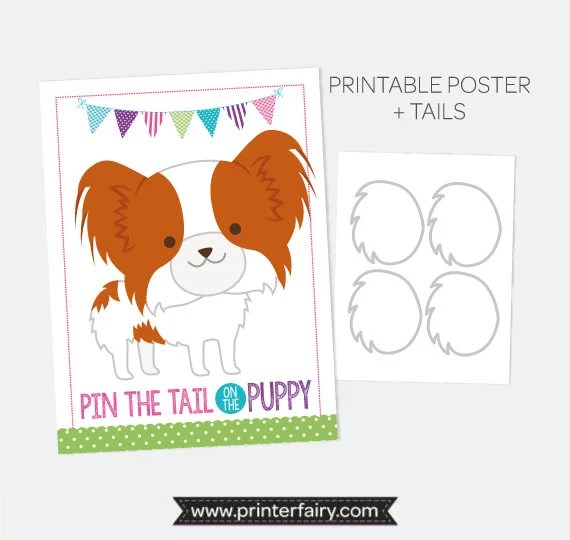 Pin the Tail on the Puppy, Pin the Tail Game, Printable Poster