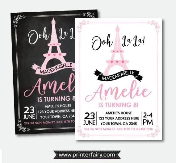Paris Invitation, French Birthday Party, Ooh lala Invitation, Paris