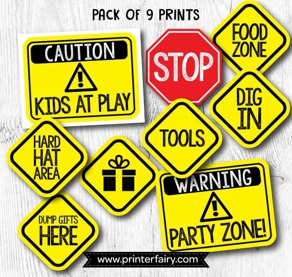Construction birthday signs Construction Birthday Printables Etsy