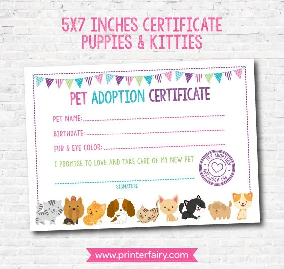 Pet Adoption Certificate, Puppy and Kitty Adoption Birthday Party