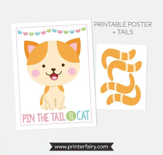 Pin the Tail on the Kitty, Pin the Tail Game, Printable Poster, Cat