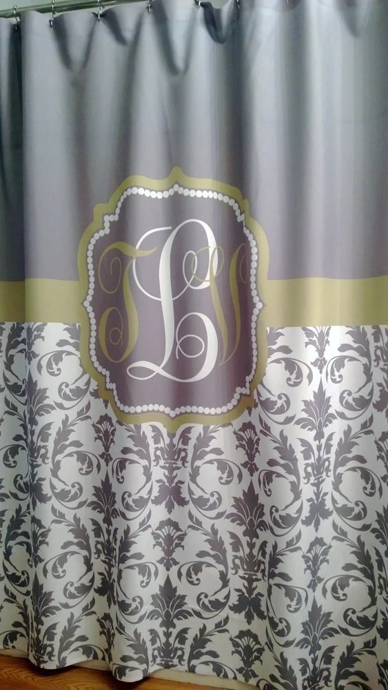 74 Shower Curtain Shower Curtain Damask You Choose Colors 70 74 78 84 Or 96 Inch Extra Long Custom Monogram Personalized For Your Bathroom