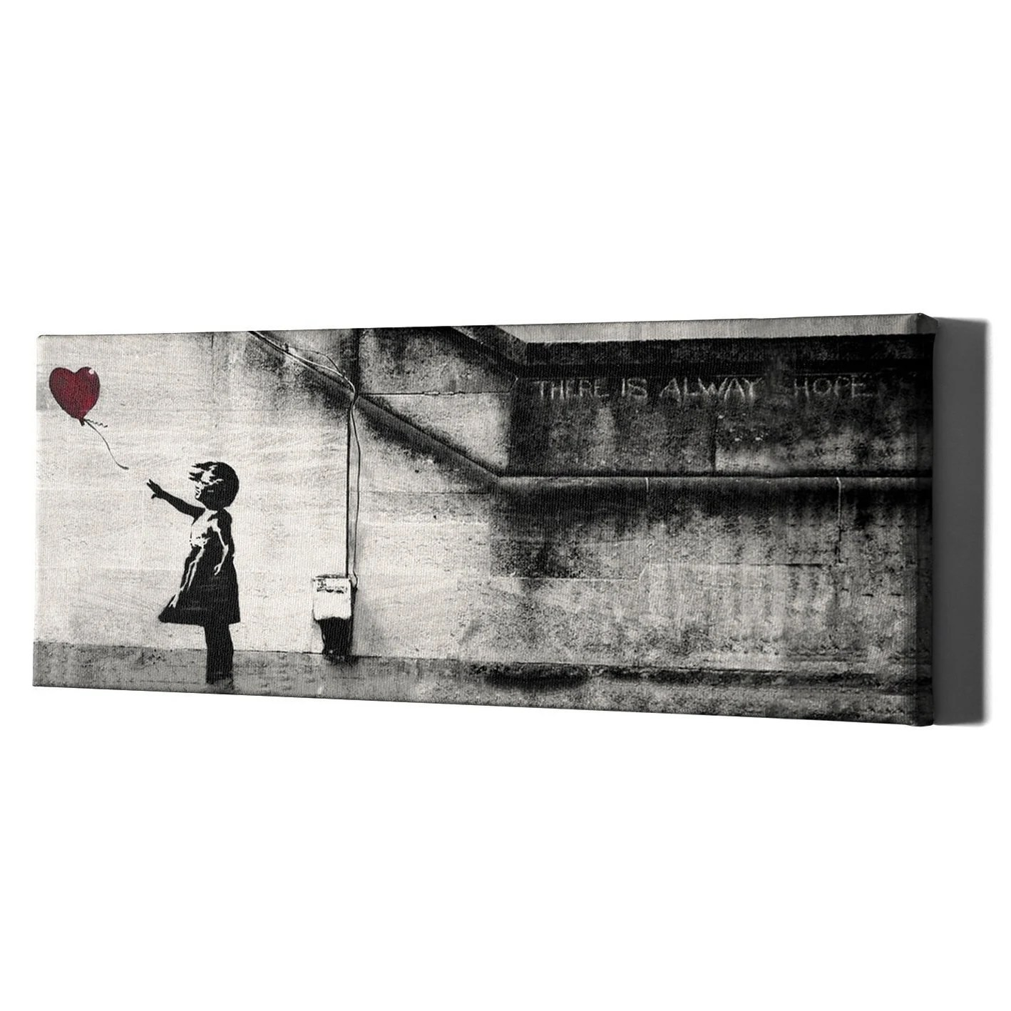Banksy Canvas Art Banksy Red Air Balloon Girl Canvas Art Nursery Wall Decor Room Gift Print Black Abstract Graffiti Street Bedroom Prints Young Painting